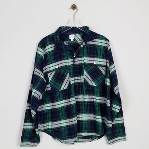 JCrew Buffalo Check Shirt Jacket 1/2 Zip Boyfriend
